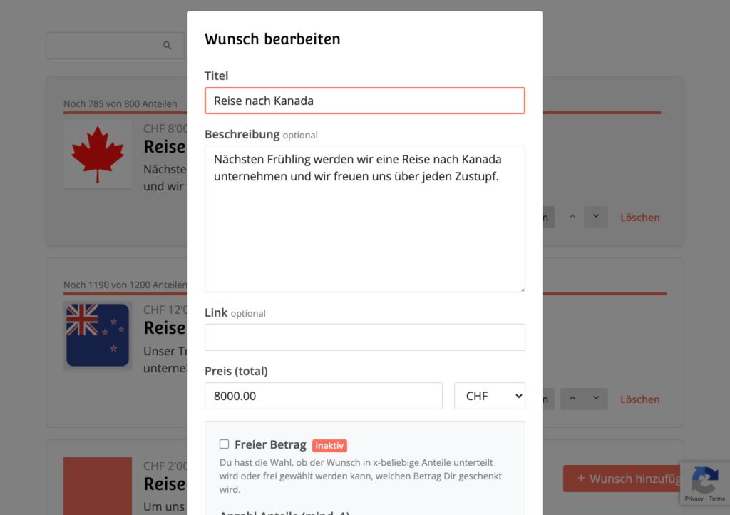 wishlistboard.com - Wunsch bearbeiten
