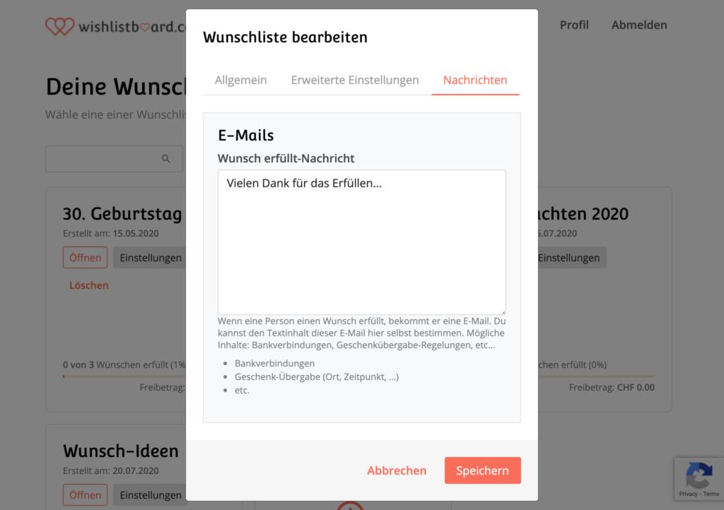 wishlistboard.com - Wunschliste bearbeiten