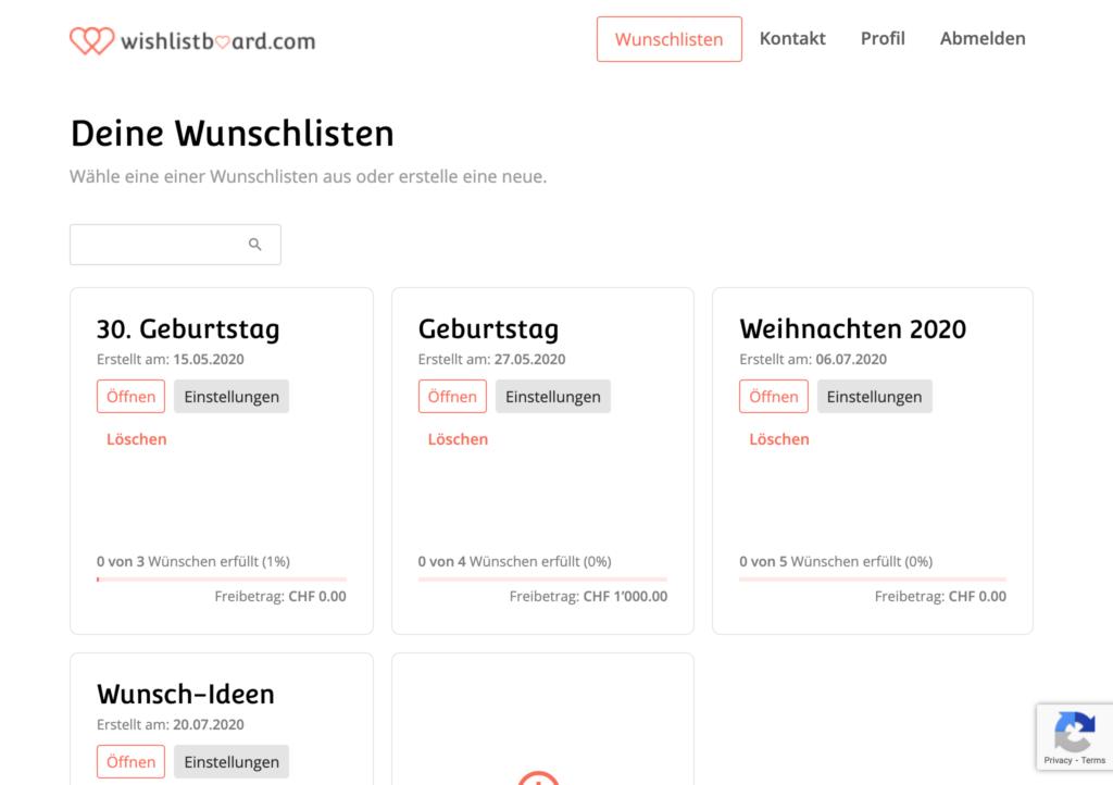 wishlistboard.com - Wunschlisten